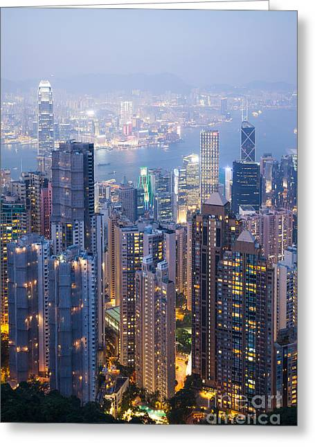 Kowloon Greeting Cards - Hong Kong city from Victoria peak Greeting Card by Matteo Colombo