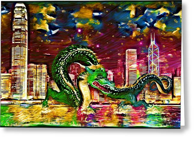 Reflections Of Sky In Water Digital Greeting Cards - Hong Kong Greeting Card by Daniel Janda