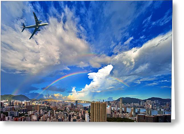 Sha Greeting Cards - Hong Kong Double Rainbow  Greeting Card by Michael  Ke