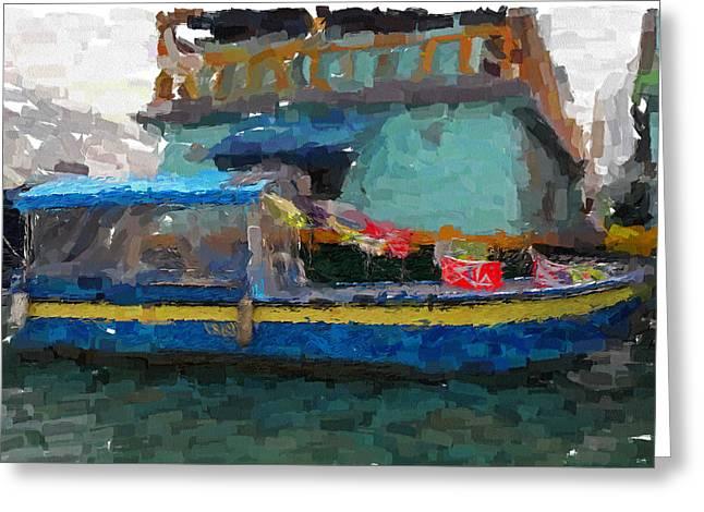 Live Art Greeting Cards - Hong Kong Fish Boat Greeting Card by Yury Malkov