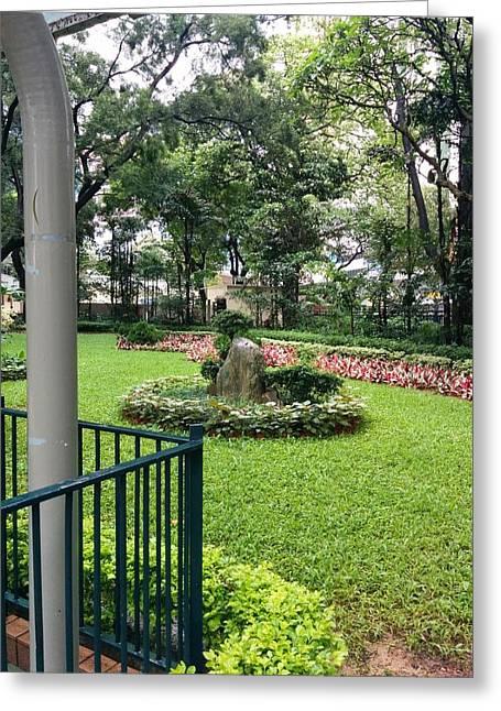 Hong Kong Pastels Greeting Cards - Hong Kong garden Greeting Card by Vivian Menzies