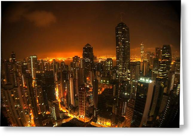 Sel Greeting Cards - Hong Kong Gotham Greeting Card by Peter Thoeny