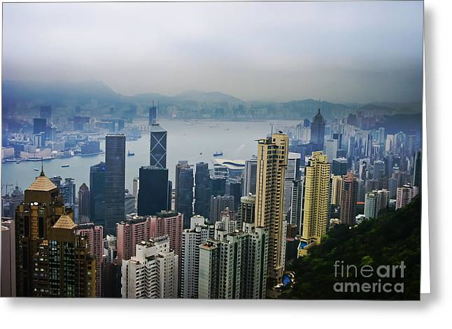 Kowloon Greeting Cards - Hong Kong Harbor Mists Greeting Card by Seas Reflecting Starlight
