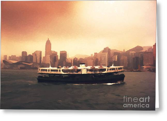 Hong Kong Photographs Greeting Cards - Hong Kong Harbour 01 Greeting Card by Pixel  Chimp