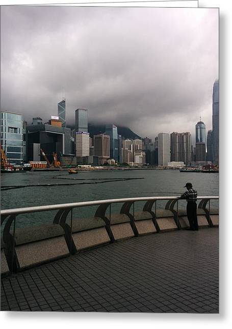 Hong Kong Pastels Greeting Cards - Hong Kong Harbour Greeting Card by Vivian Menzies