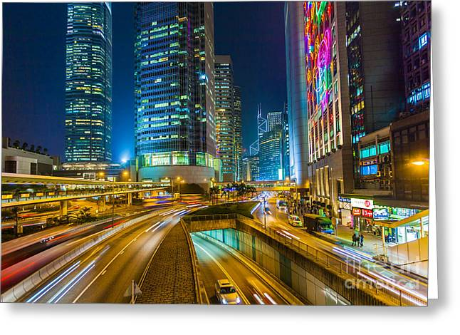 Kowloon Greeting Cards - Hong Kong Highway at Night Greeting Card by Fototrav Print
