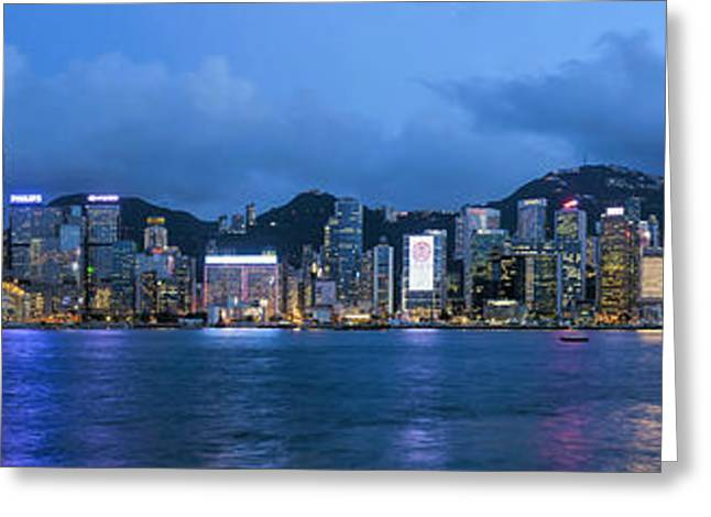 Sha Greeting Cards - Hong Kong Island Central City Skyline at Blue Hour Greeting Card by David Gn