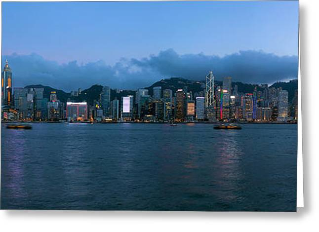 Sha Greeting Cards - Hong Kong Island Central City Skyline Evening Greeting Card by JPLDesigns