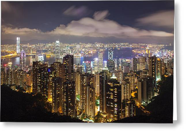 Sha Greeting Cards - Hong Kong Island Central Cityscape Greeting Card by JPLDesigns