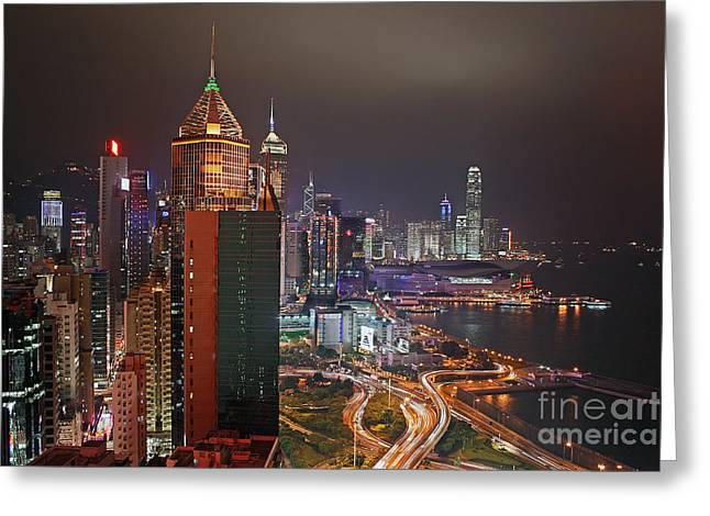 Hongkong Greeting Cards - Hong Kong Island Greeting Card by Lars Ruecker