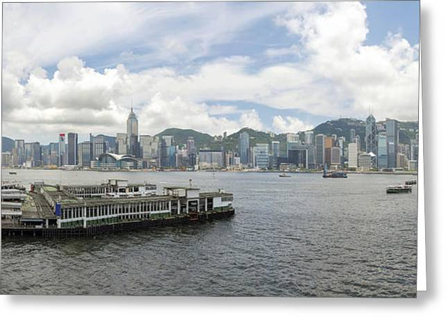 Tsim Photographs Greeting Cards - Hong Kong Island View from Kowloon Panorama Greeting Card by JPLDesigns