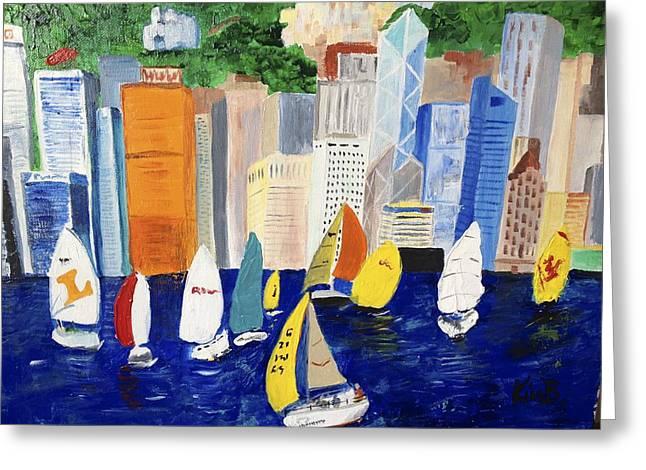 Sailboat Photos Paintings Greeting Cards - Hong Kong Greeting Card by Kimberly Balentine
