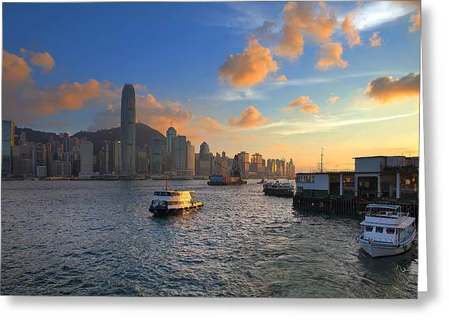 Sha Greeting Cards - Hong Kong Kowloon Ferry Pier Greeting Card by JPLDesigns