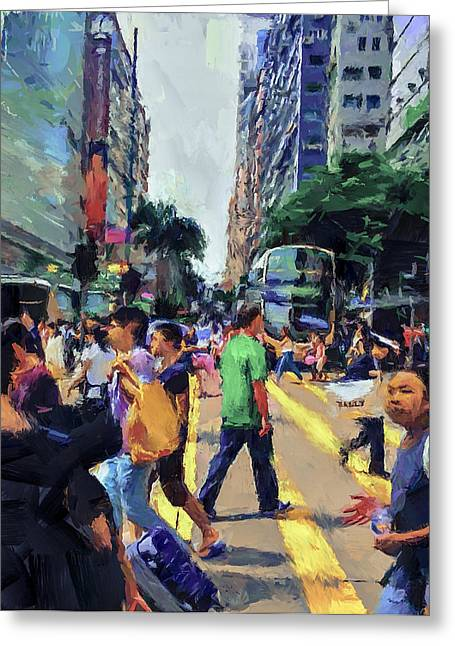 Live Art Greeting Cards - Hong Kong Nathan Road Greeting Card by Yury Malkov