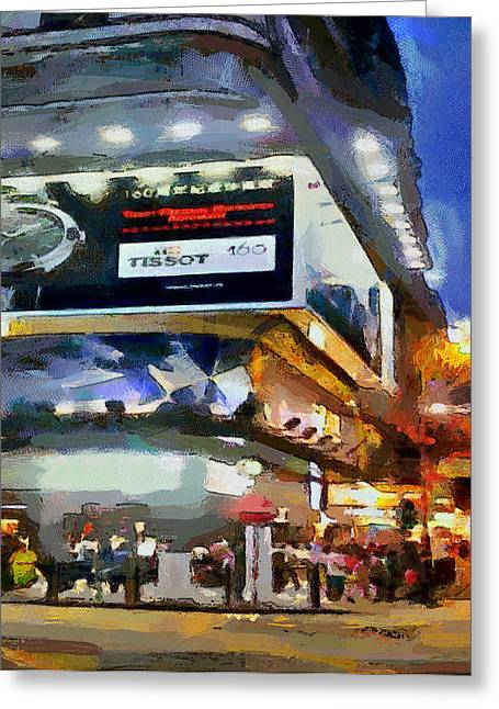 Live Art Greeting Cards - Hong Kong Night Lights 1 Greeting Card by Yury Malkov