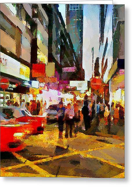 Live Art Greeting Cards - Hong Kong Night Lights 2 Greeting Card by Yury Malkov