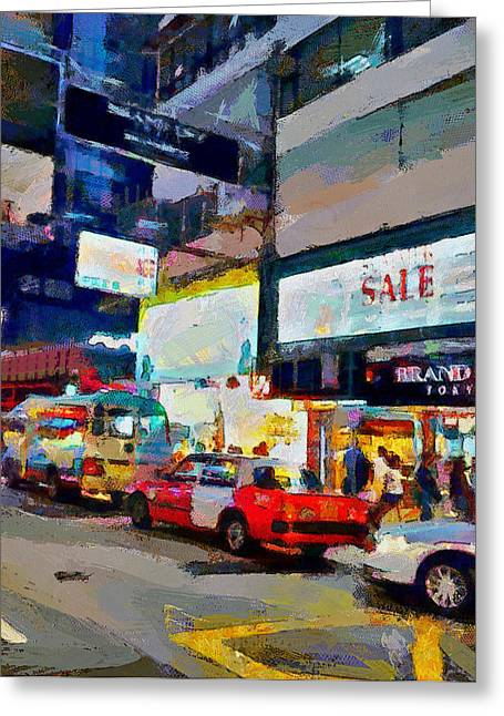 Live Art Greeting Cards - Hong Kong Night Lights 3 Greeting Card by Yury Malkov