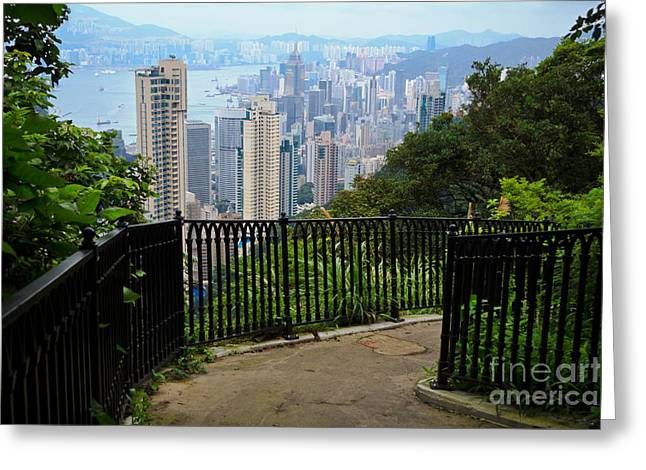 Overcast Day Greeting Cards - Hong Kong Peak View Greeting Card by Niphon Chanthana