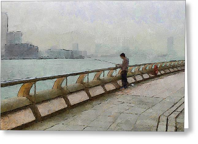 Live Art Greeting Cards - Hong Kong Promenade Fishing Greeting Card by Yury Malkov