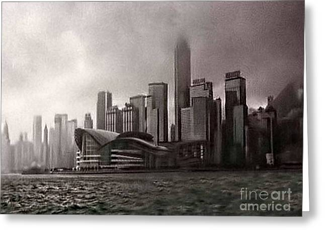 Hong Kong Rain 5 Greeting Card by Tom Prendergast