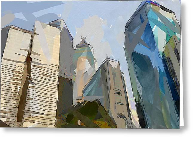 Live Art Greeting Cards - Hong Kong simple skyline Greeting Card by Yury Malkov