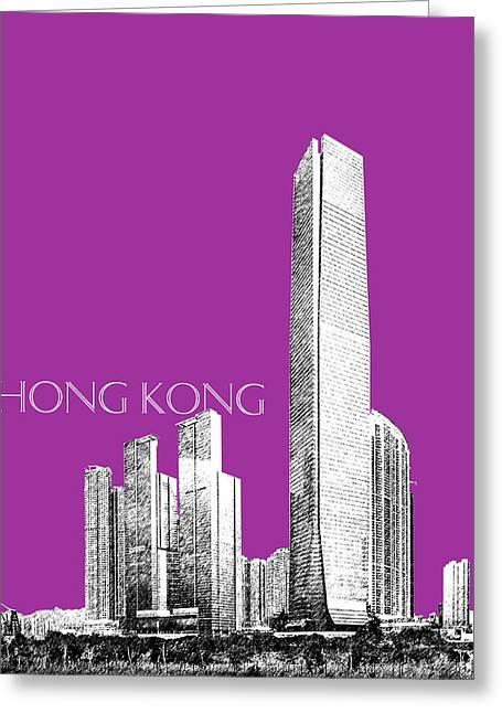 Hong Kong Digital Art Greeting Cards - Hong Kong Skyline 2 - Plum Greeting Card by DB Artist