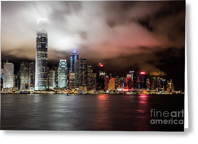 Kowloon Greeting Cards - Hong Kong skyline Greeting Card by Asiandreamphoto