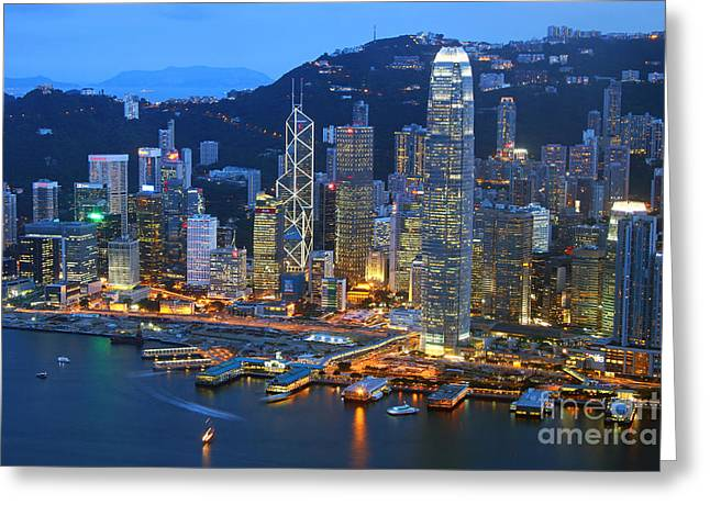 Hongkong Greeting Cards - Hong Kong Skyline at Night Greeting Card by Lars Ruecker
