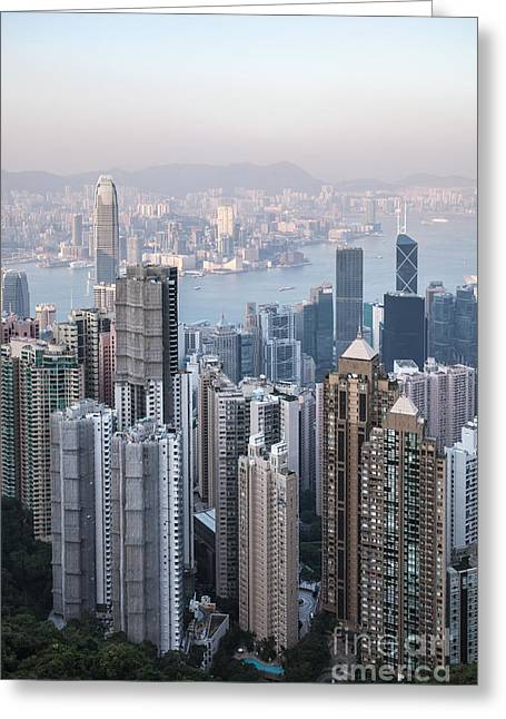 Kowloon Greeting Cards - Hong Kong skyline from Victoria peak at sunset Greeting Card by Matteo Colombo