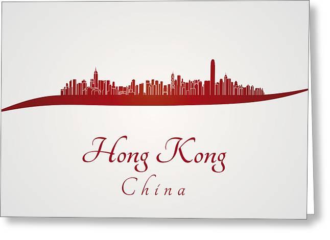 Hong Kong Digital Art Greeting Cards - Hong Kong skyline in red Greeting Card by Pablo Romero