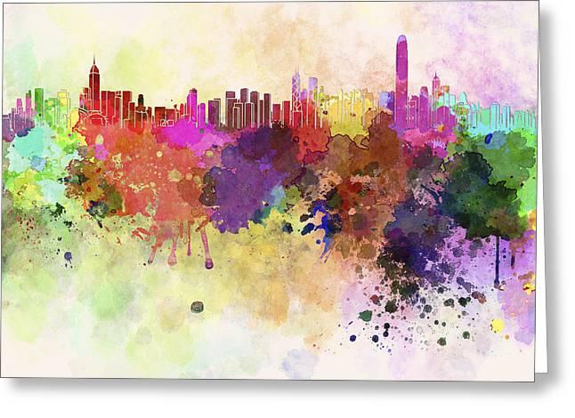 Hong Kong Digital Art Greeting Cards - Hong Kong skyline in watercolor background Greeting Card by Pablo Romero
