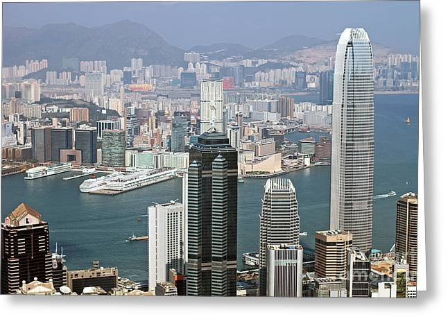 Hongkong Greeting Cards - Hong Kong Skyline Greeting Card by Lars Ruecker