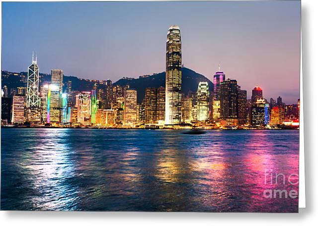 Kowloon Greeting Cards - Hong Kong skyline Greeting Card by Luciano Mortula