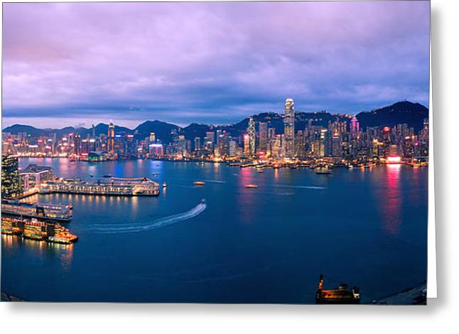 Union Square Greeting Cards - Hong Kong Skyline Greeting Card by Michael  Ke