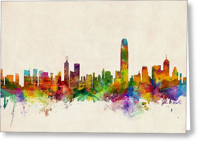 Hong Kong Skyline Greeting Card by Michael Tompsett