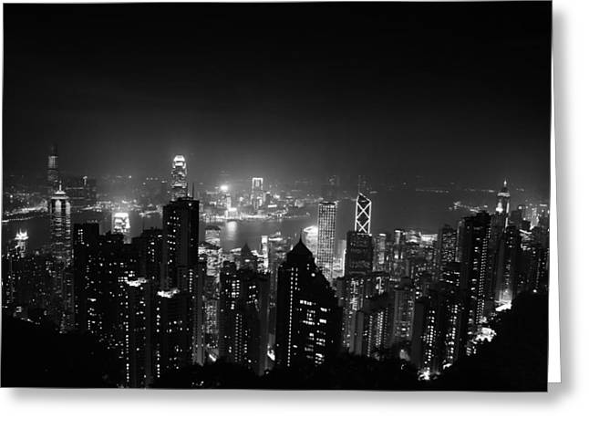 City Lights Greeting Cards - Hong Kong Skyline Greeting Card by Mountain Dreams