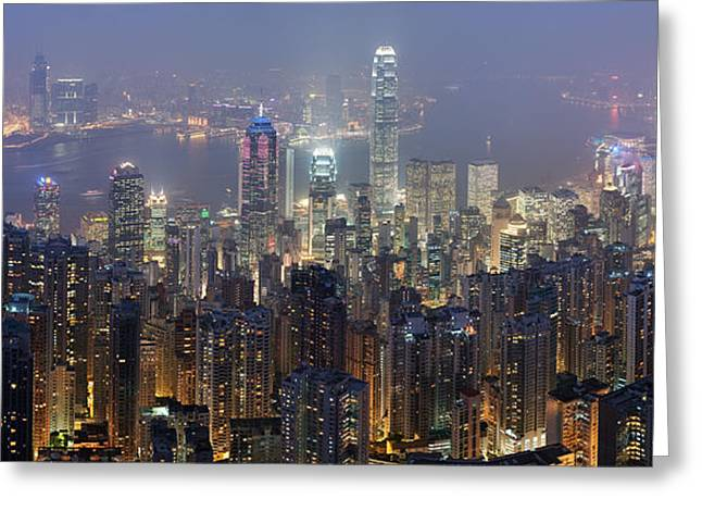 Honk Greeting Cards - Hong Kong Skyline Greeting Card by Nomad Art And  Design