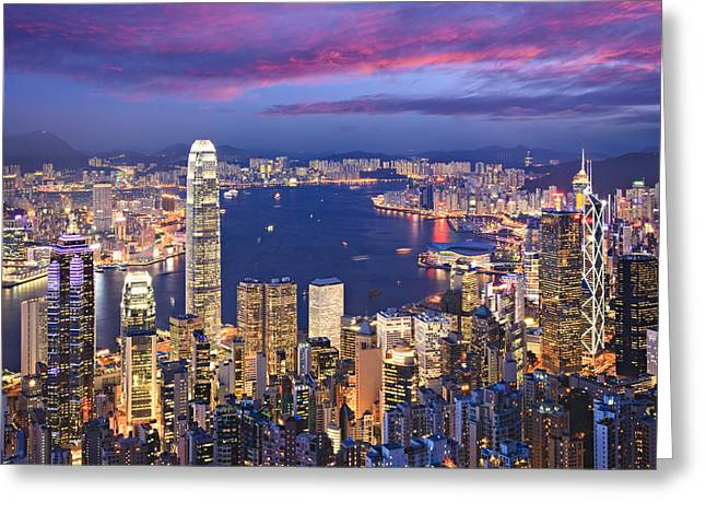Hong Kong Skyline Twilight Square Greeting Card by Colin and Linda McKie