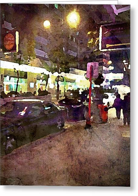 Hong Kong Digital Art Greeting Cards - Hong Kong Street Lights Greeting Card by Yury Malkov