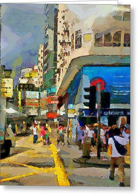 Live Art Greeting Cards - Hong Kong Streets 1 Greeting Card by Yury Malkov