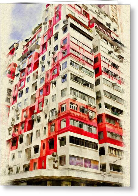 Live Digital Greeting Cards - Hong Kong Streets 4 Greeting Card by Yury Malkov