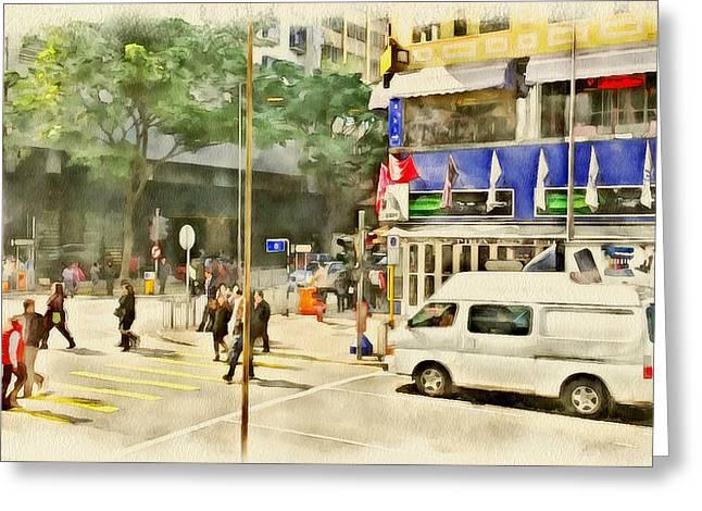 Live Art Greeting Cards - Hong Kong Streets 6 Greeting Card by Yury Malkov
