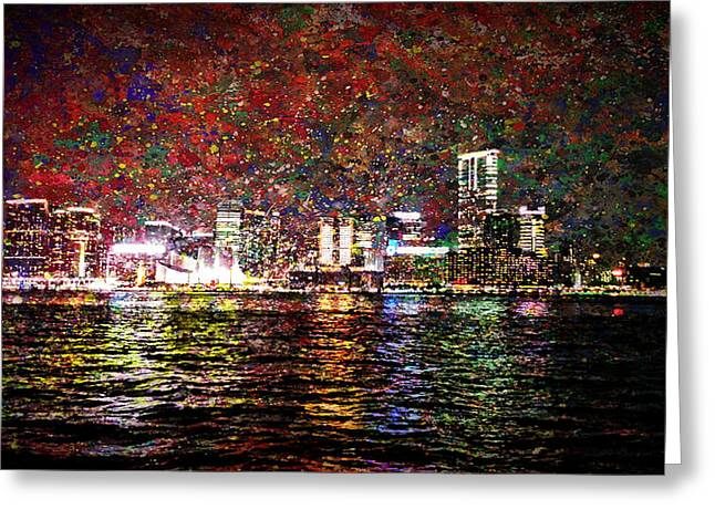 Live Art Greeting Cards - Hong Kong Streets Skyline 1 Greeting Card by Yury Malkov