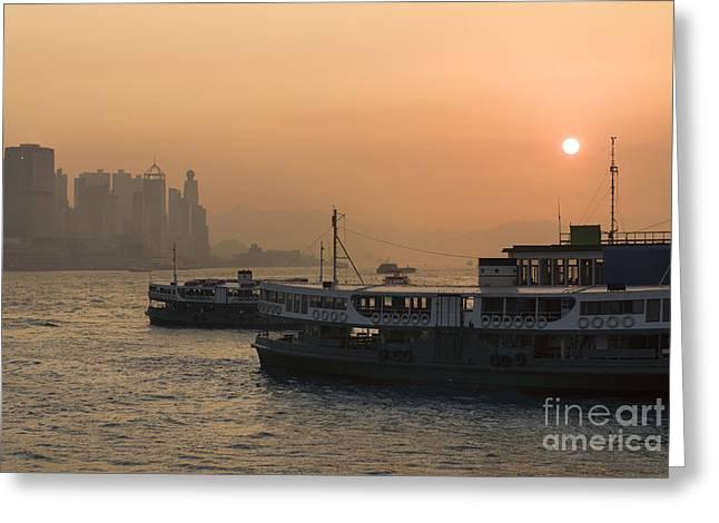 Sha Greeting Cards - Hong Kong Sunset Greeting Card by Simon Zenger