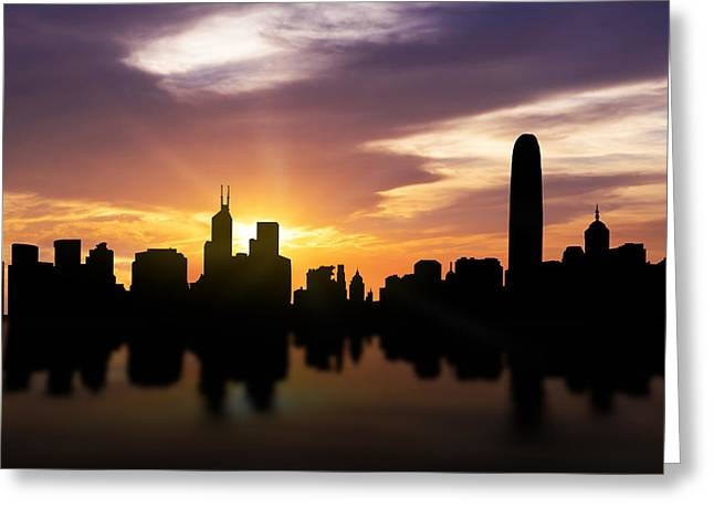 Reflections Mixed Media Greeting Cards - Hong Kong Sunset Skyline  Greeting Card by Aged Pixel