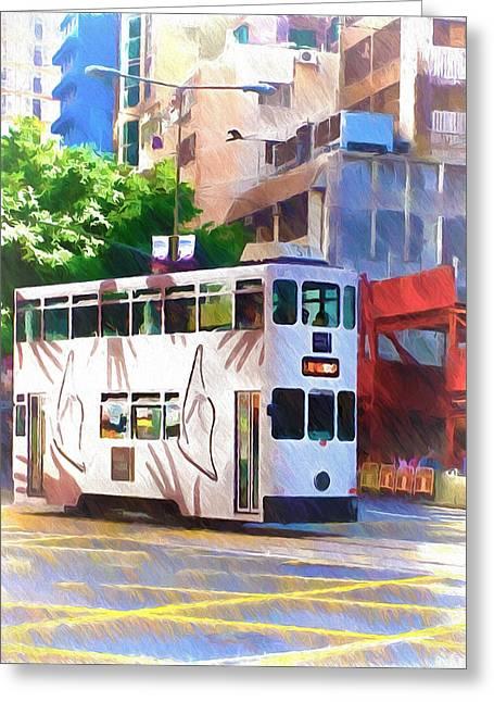 Hong Kong Digital Art Greeting Cards - Hong Kong trams 1 Greeting Card by Yury Malkov