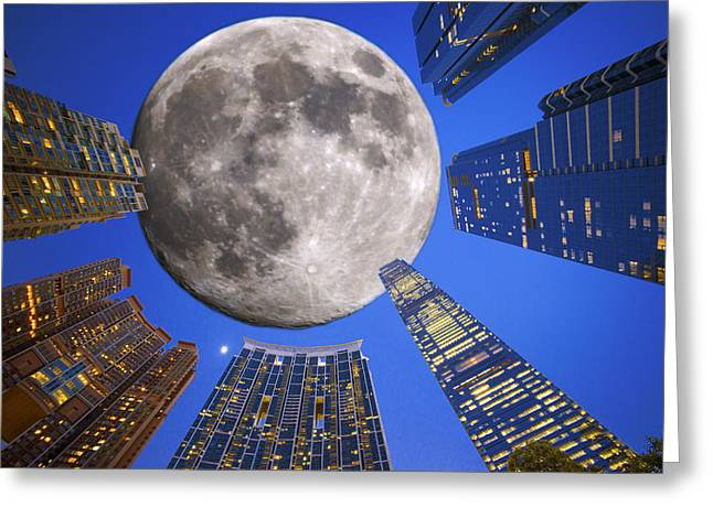 Sha Greeting Cards - Hong Kong Union Square Moon Greeting Card by Michael  Ke