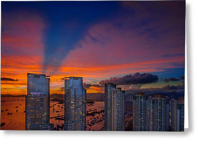 Sha Greeting Cards - Hong Kong Union Square Sunset Greeting Card by Michael  Ke