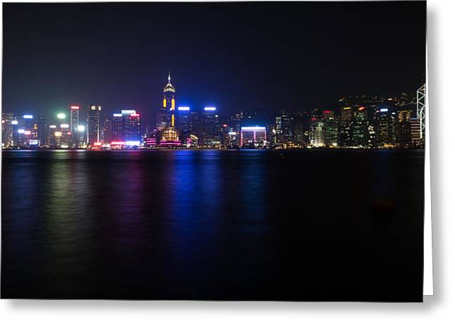 Mike Lee Greeting Cards - Hong Kong Waterfront Greeting Card by Mike Lee