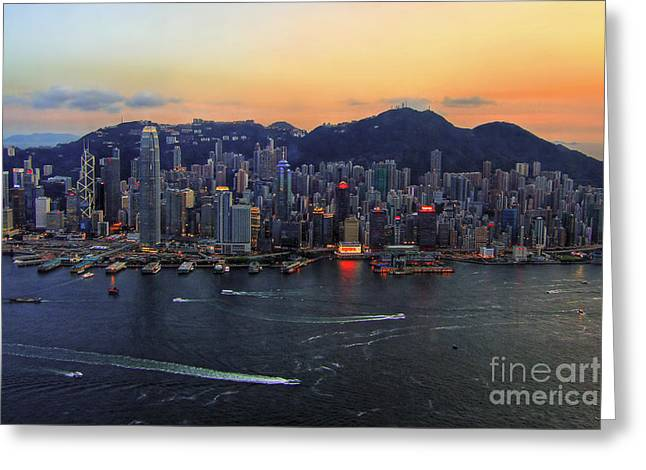 Hongkong Greeting Cards - Hong Kongs Skyline during a beautiful Sunset Greeting Card by Lars Ruecker